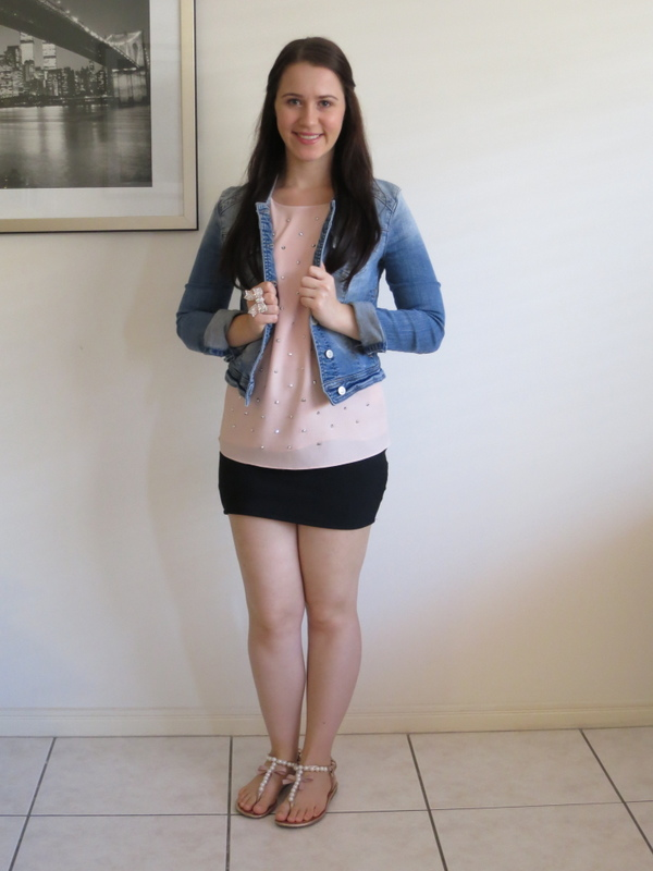 Black bandage skirt, blush embellished top, denim jacket and rose gold accessories.