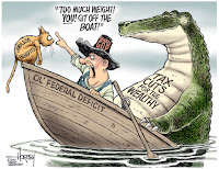comic taxpayer in boat with large tax breaks for industry gator while ordering tiny social programs cat overboard