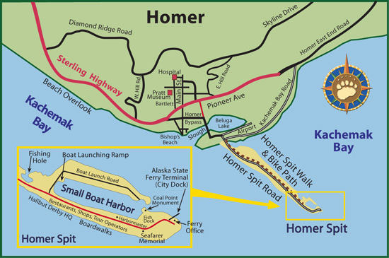 Maps of Alaska Roads By Bearfoot Guides: Map of Homer, Alaska