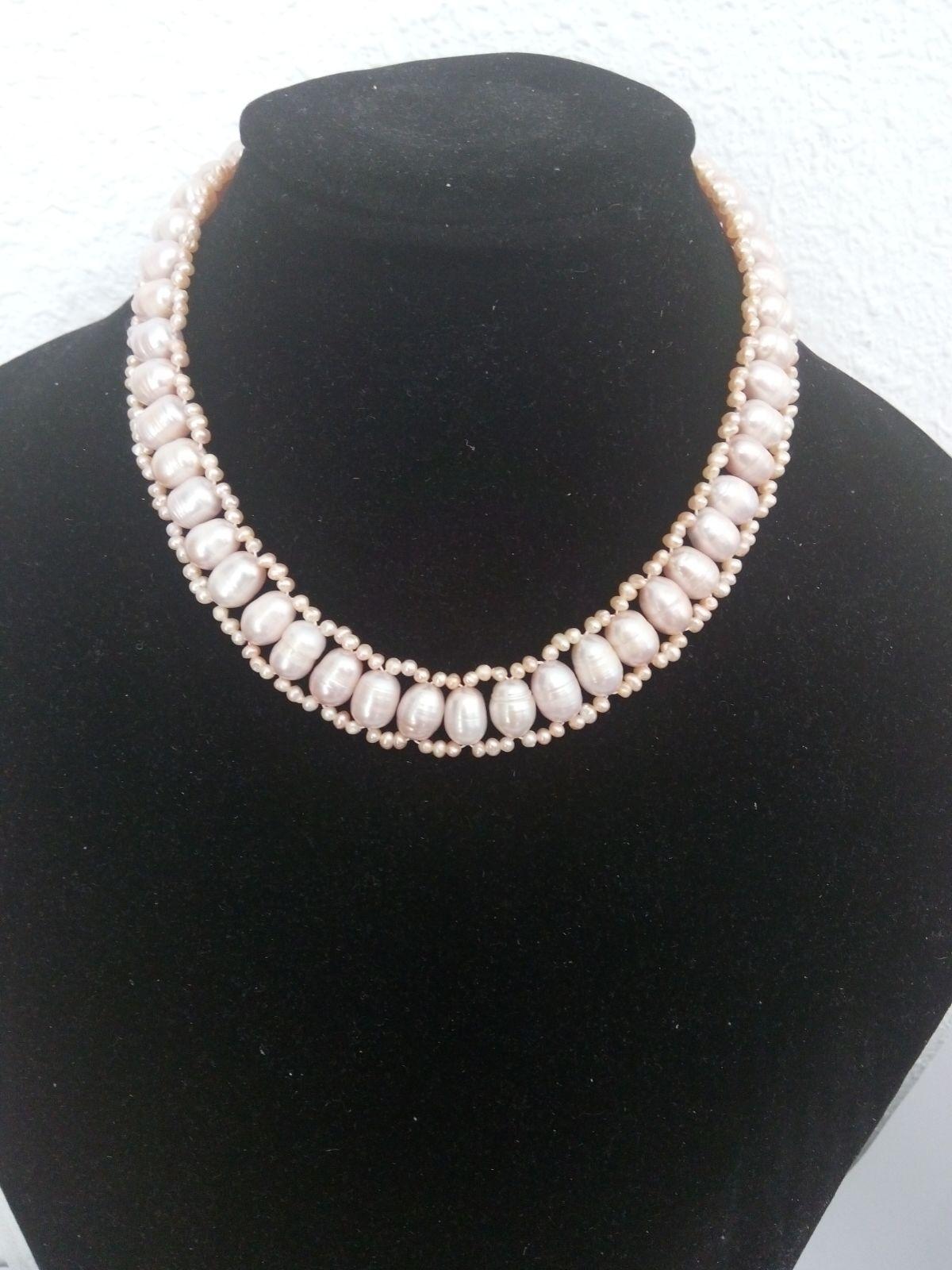 Gargantilla de perlas [Color agua dulce salmón]
