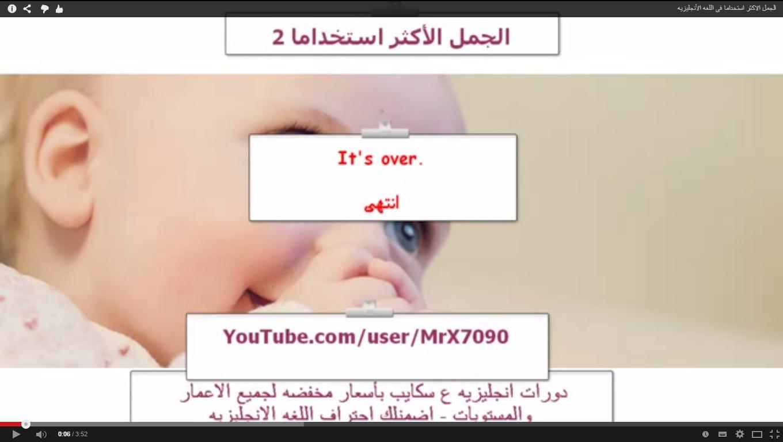 فيديو  الجمل الأكثر استخداما فى اللغة الانجليزية ( الشرح بالعربية )