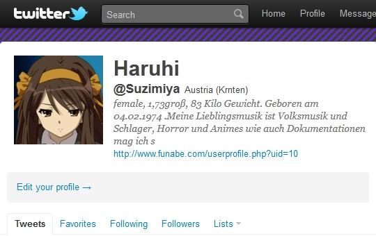 Haruhi Suzimiya on Twitter
