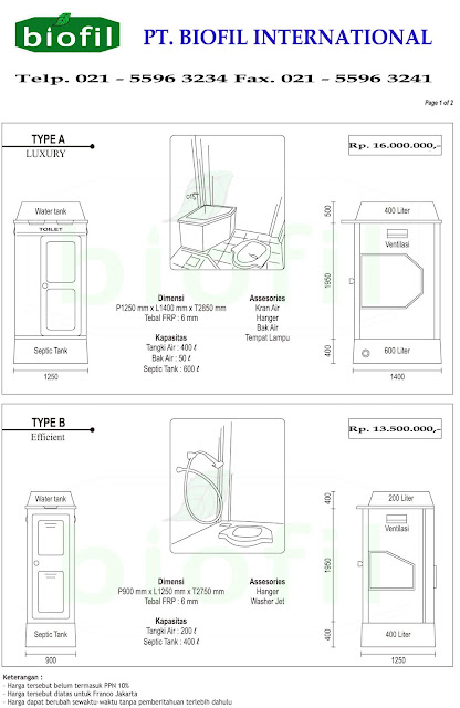 portable toilet biofil,flexible toilet, sementara, proyek,septic tank, biotech