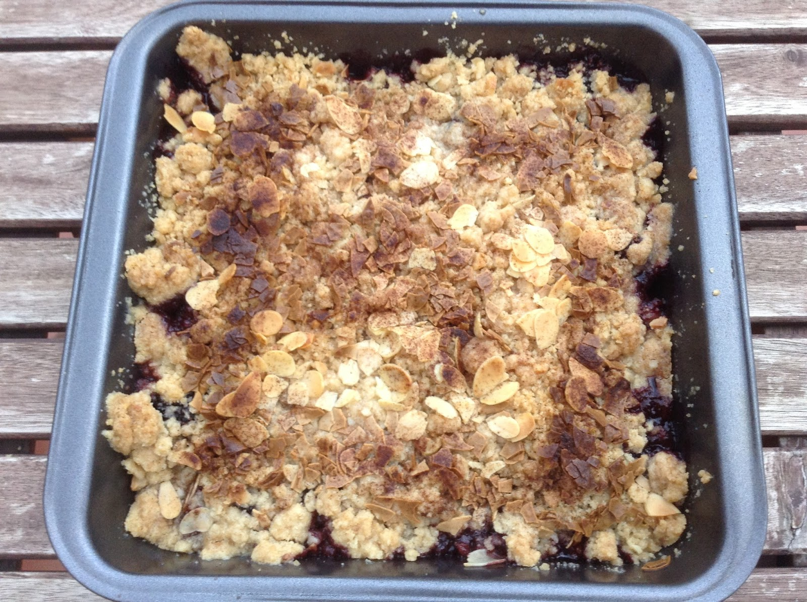 Crumble de moras y chocolate blanco