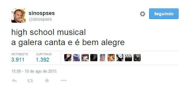 print do twitter @sinopses sobre o filme high school musical