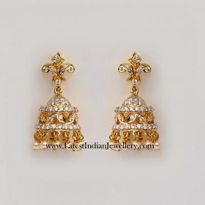 Simple Diamond Jhumka Earrings