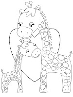Giraffe Family Coloring Pages For Kids