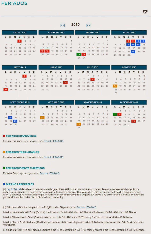 Feriados Nacionales y Días no laborables 2015