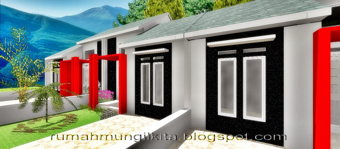 Desain Rumah Minimalis Tipe 30 Tanah 72 m2 - Tampak samping depan