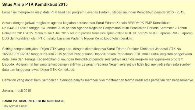 Situs  Arsip Data PTK Padamu Negeri Kemdikbud 2015
