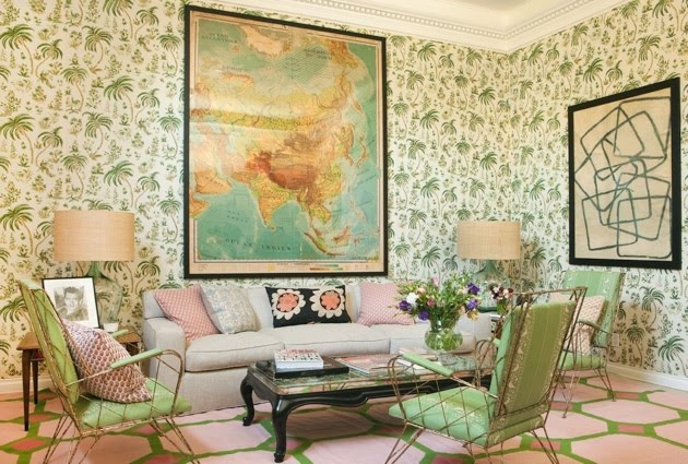 This is perhaps why I love Lisa Fine's interior and wallpaper design so much. Also the clash of the pink and green tones is magic.