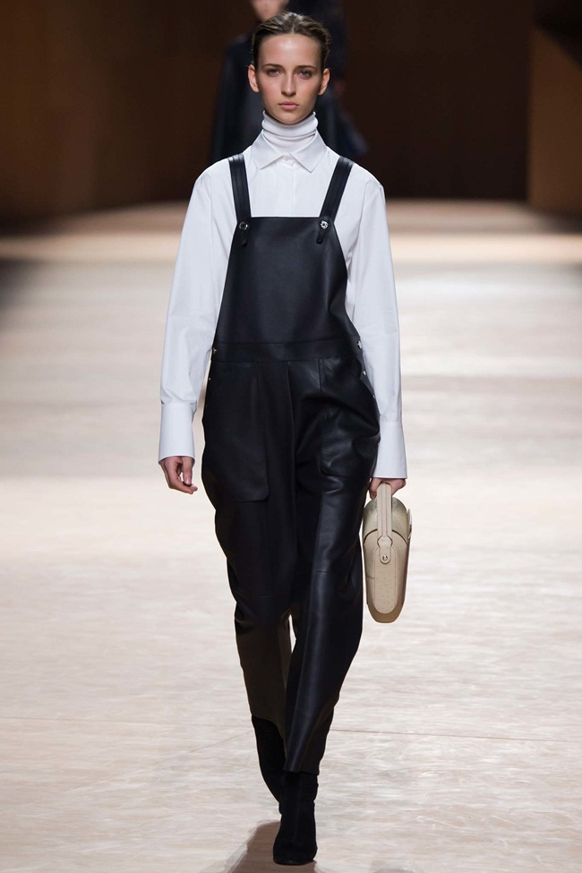 Hermes 2015 AW Black Leather Dungarees on Runway