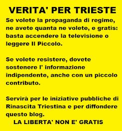 SOSTIENI L' INFORMAZIONE LIBERA CLICCANDO LA PUBBLICITA' SOPRA ! OGNI CLIC UN PICCOLO AIUTO A R.T.