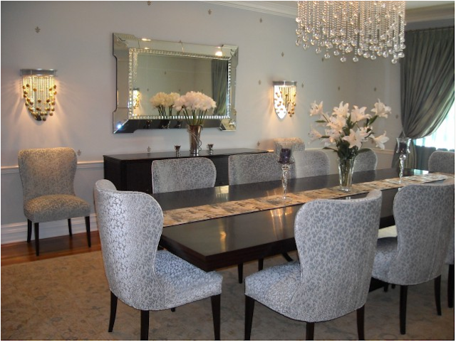 Key interiors by shinay transitional dining room design ideas for Dining room ideas grey