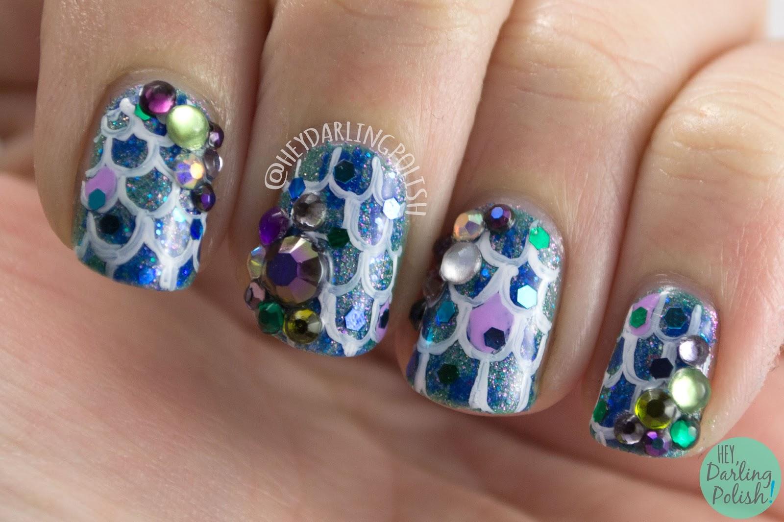 nails, nail art, nail polish, hey darling polish, mermaid, rhinestones, glitter, 52 week challenge, glitzy
