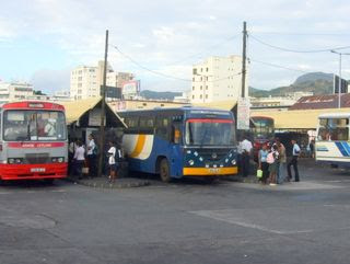 A bus station in Mauritius