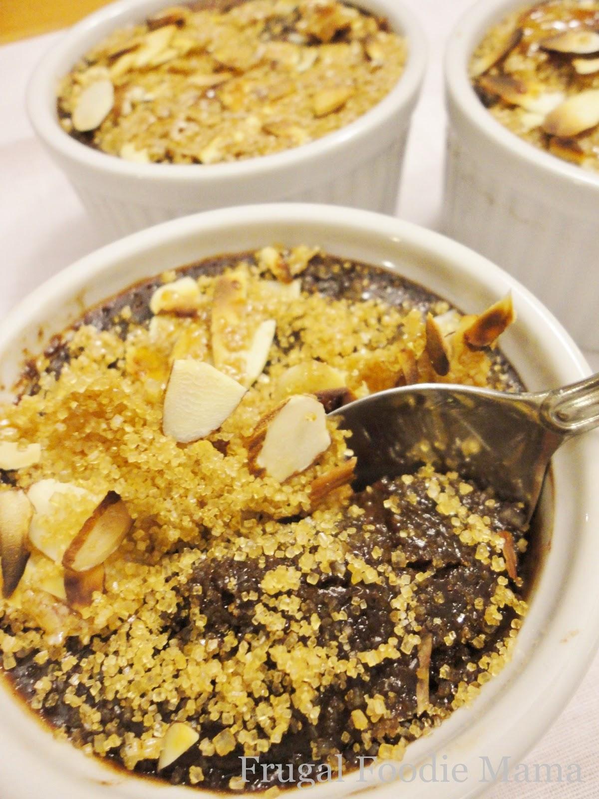 Frugal Foodie Mama: Triple Chocolate Almond Creme Brulee