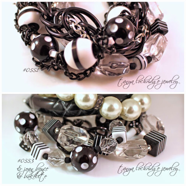 Tanya Lochridge Jewelry Black & White Resin Bead & Crystal Quartz Gemstone Bracelet