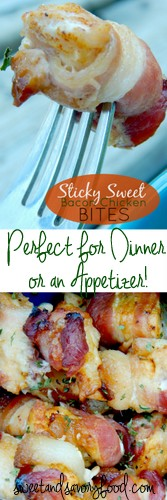 sticky sweet bacon chicken bites (sweetandsavoryfood.com)