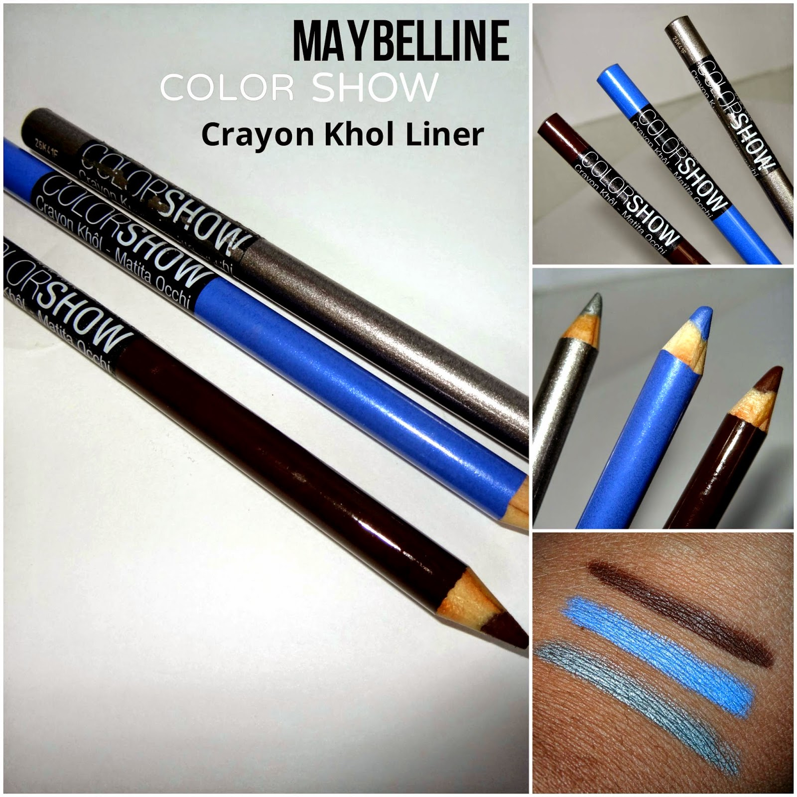 Maybelline Color Show Khol liners sparkle grey, Chambray Blue,Chocolate Chip