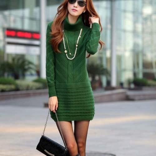 Схема вязаного теплого платья косами