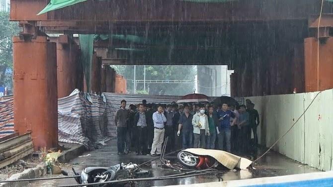 Hiện trường vụ tai nạn chết người tại dự án đường sắt trên cao