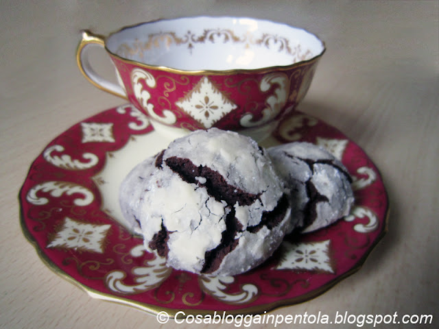biscotti crinkles chocolate cacao cioccolato cosa blogga in pentola ricetta cosabloggainpentola