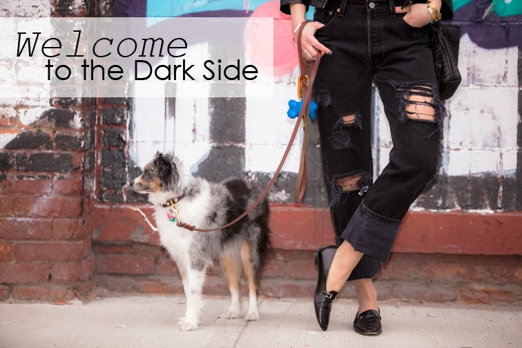 Fashion Over Reason welcome to the dark side, black distressed boyfriend jeans by Refind Denim