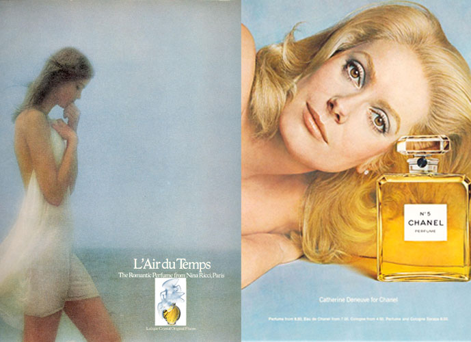 Nina Ricci L'Air du Temps 1976 & Chanel No. 5 1975 vintage ad campaigns