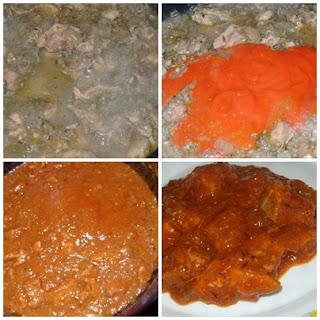 carne en salsa con pimiento y berenjena
