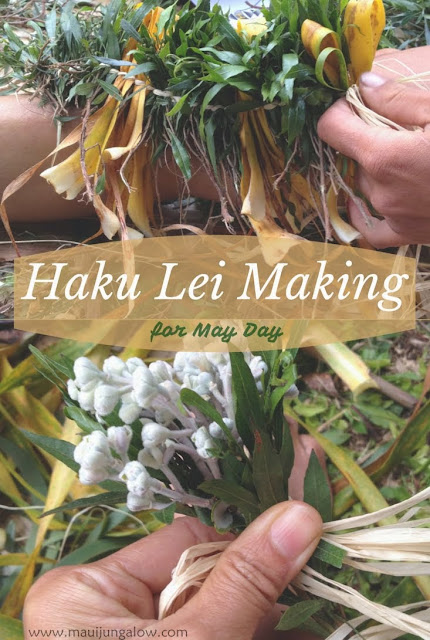 Haku Lei Making on May Day at the Bailey House Museum, using a braiding technique