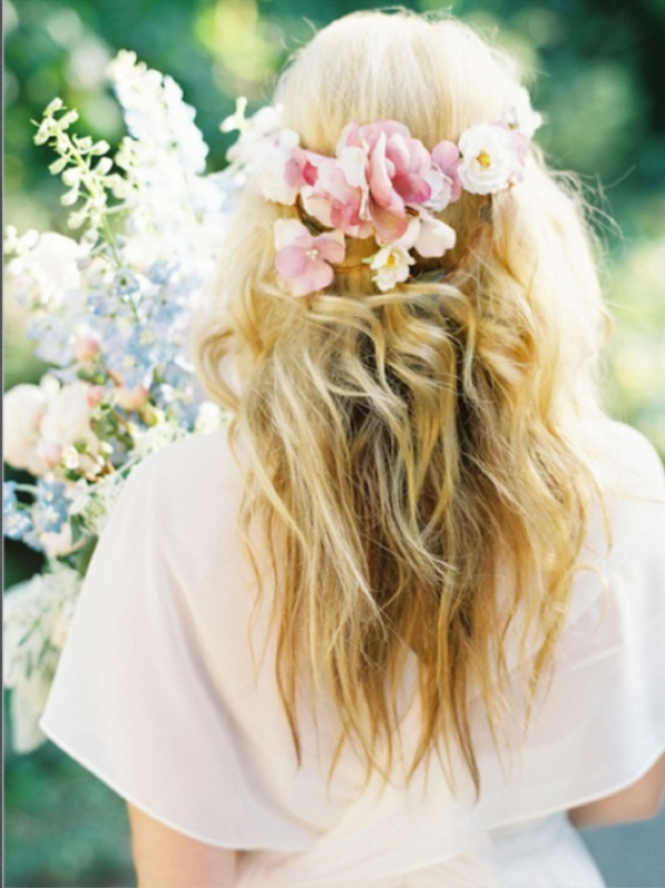 simple boho style wedding hair down with floral crown