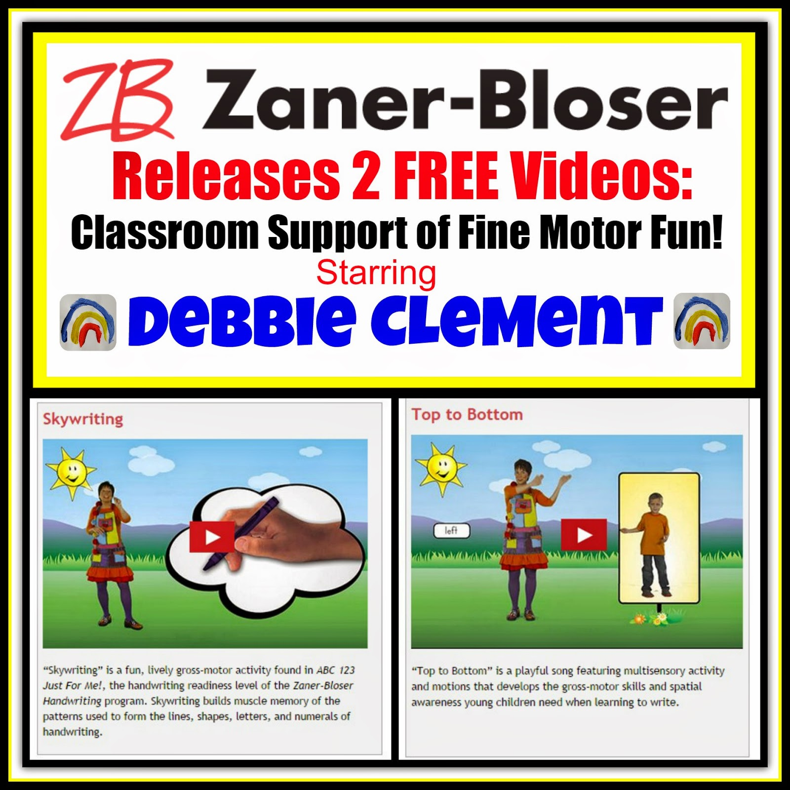 Zaner-Bloser FREE Videos on Fine Motor Fun thru Song and Dance
