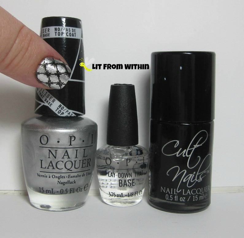 Bottle shot:  OPI Push and Shove, Lay Down the Base, and Cult Nails Nevermore.