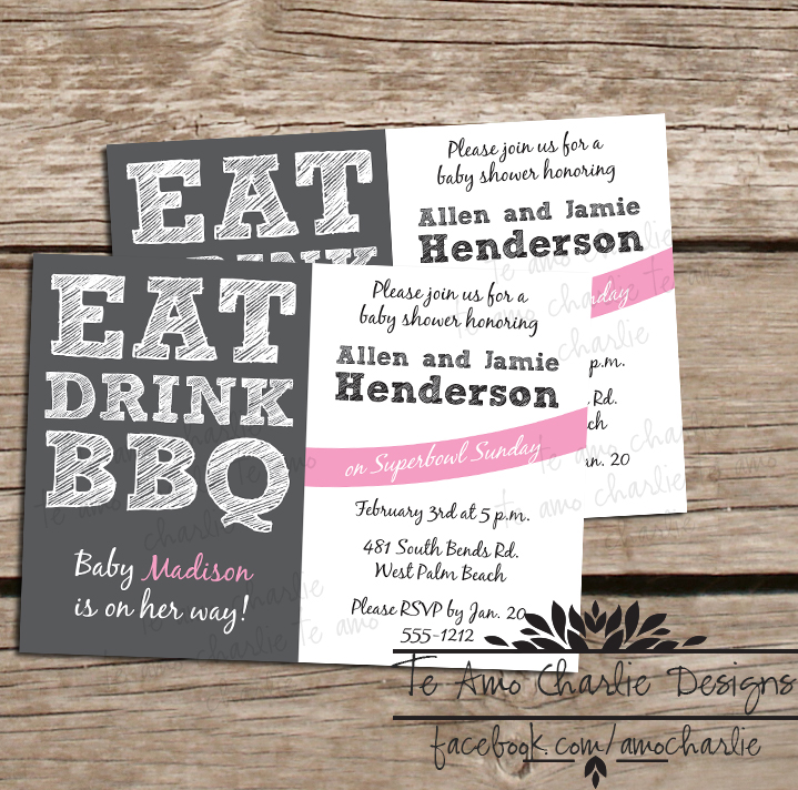 Te Amo Charlie: Eat Drink BBQ Baby Shower Invitations