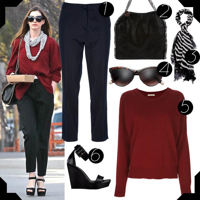 ANNE HATHAWAY, UMA GAROTA DE ESTILO_o estilo de Anne hathaway_calça larga_bolsa com corrente_echarpe xadrez_lenço preto e branco_óculos gatinha