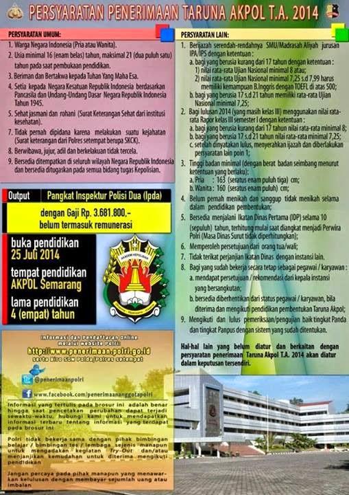jadwal penerimaaan dan pendaftaran taruna akademi polisi polri 2014. website dan tempat mendaftar polri 2014