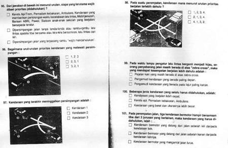 Contoh Tes Teori Ujian SIM 3