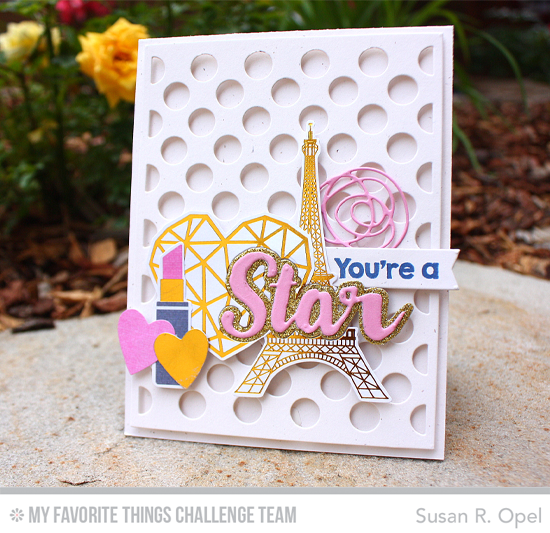 You're a Star Card by Susan R. Opel featuring the Polks Dot Cover-Up, Laina Lamb Designs Count the Stars and Stars & Wishes, and Lisa Johnson Designs Scribbles Die-namics #mftstamps