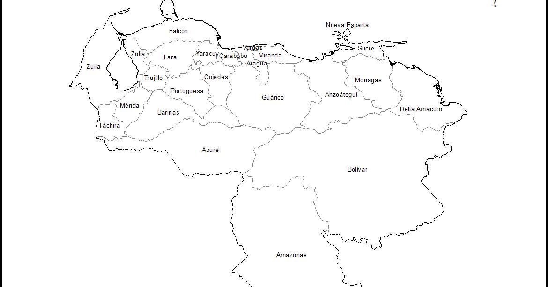 Mapa de Venezuela para colorear con nombres de los estados.