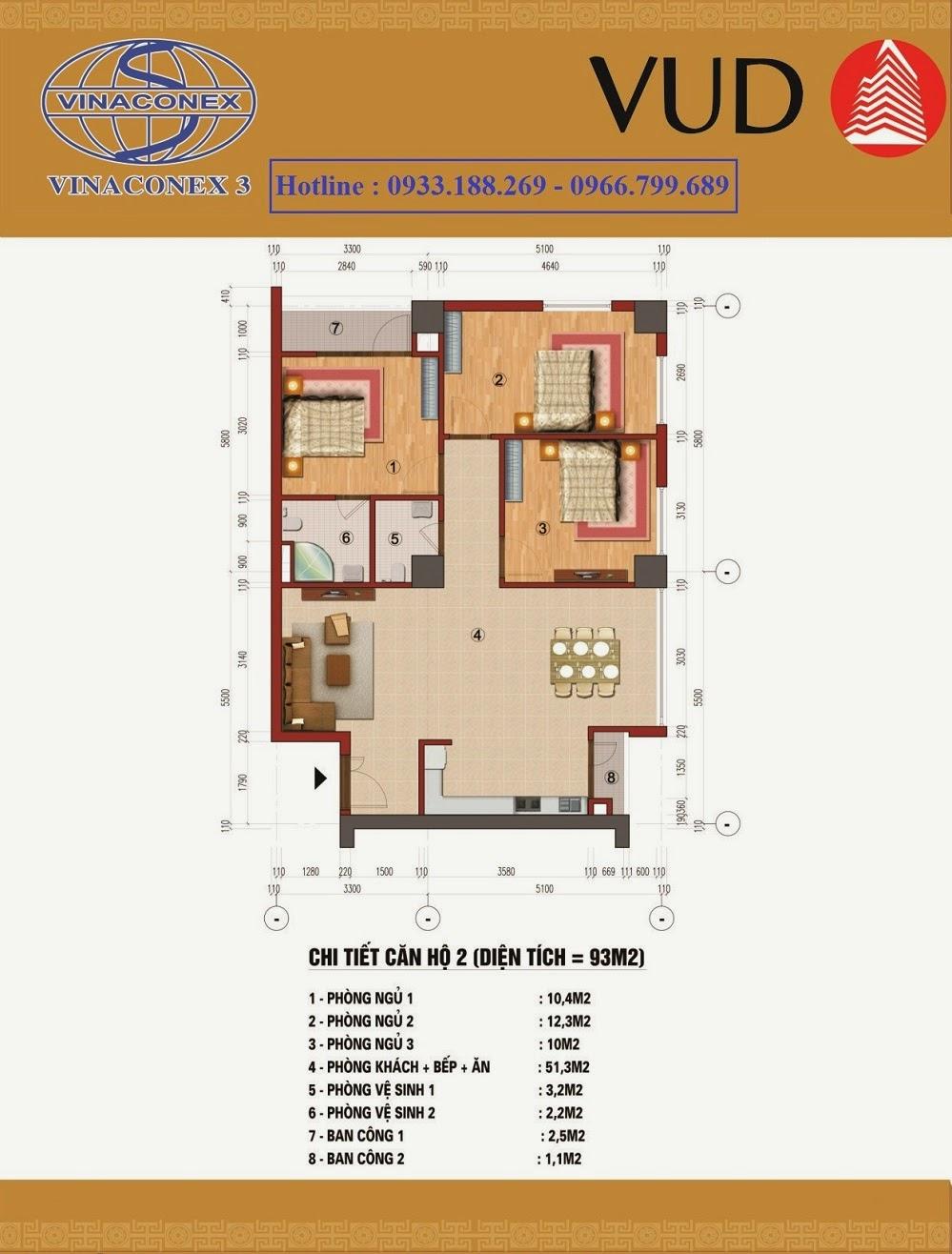 Diện tích 93m2, Chung cư CT1 Trung Văn - Vinaconex3