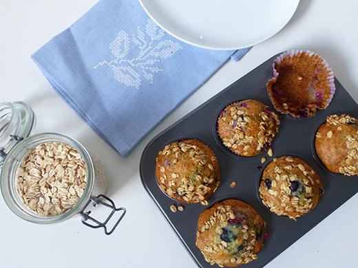 Beerenmuffins, vegan, Agavendicksaft, ohne Zucker, Knusperflocken, vegan, Rezept, Blog