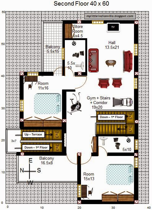 My little indian villa 32 r25 3bhk duplex in 40x60 west for Plan for 40 x 60 plot