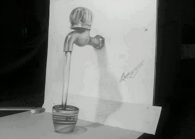 Water tap pencil drawing optical illusion