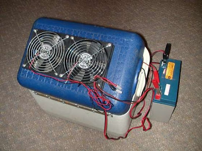 Survival Air Conditioner Improvised from Cooler and PC Fans.