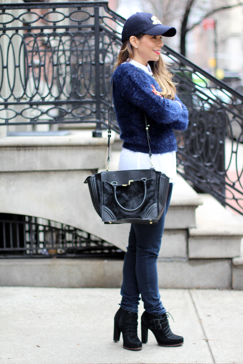 Jcrew; fashion blogger;  zara; gap; jcrew hat; weekend casual  what to wear  street style black boots how to wear a hat layering blue sweater statement necklace hat style blogger black purse skinny jeans hair necklace spring style