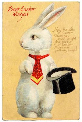 """Винтаж Пасхи Изображения Причудливый Белый Кролик """" Top Hat"""""""