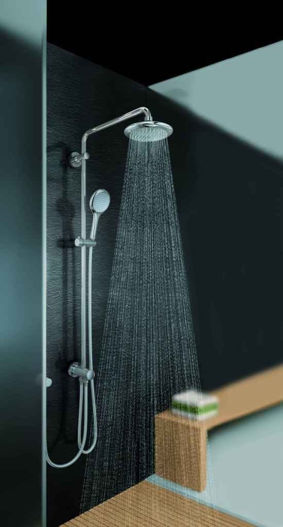 new head and ceiling showers in the grohe spa collection. Black Bedroom Furniture Sets. Home Design Ideas