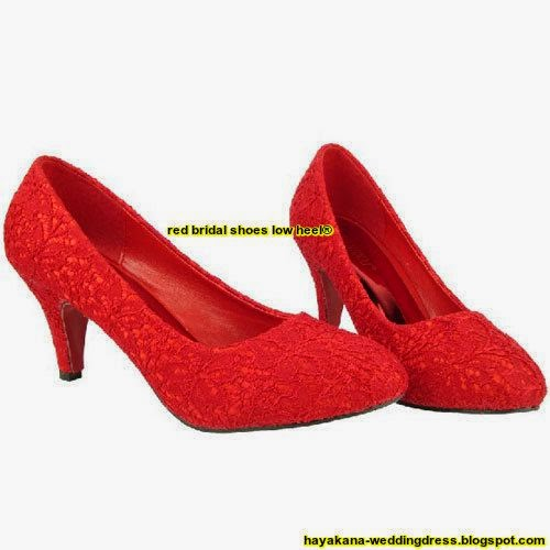 red bridal shoes low heel
