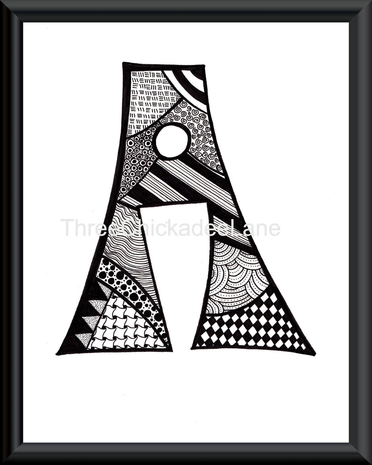 Chickadee Happenings Zentangle Letters